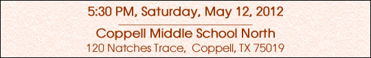 Saturday, May 28, 2012 @ Coppell Middle School North